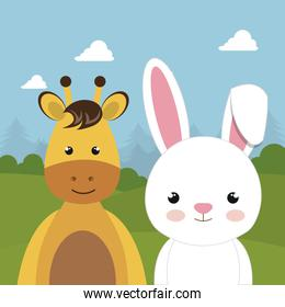 cute rabbit and giraffe in the field landscape character