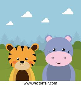 cute tiger and hippo in the field character