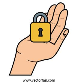 hand with safe secure padlock icon