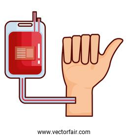 hand with donate blood bag