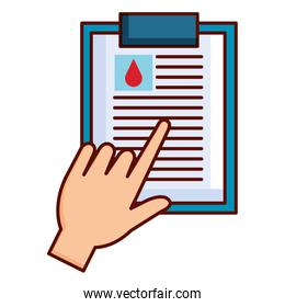 hand with donation blood clipboard paper