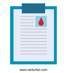 donation blood clipboard paper over white