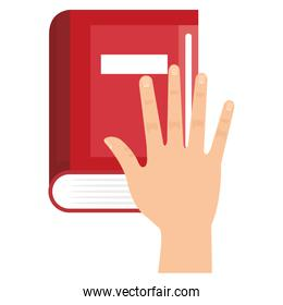 hand with book school