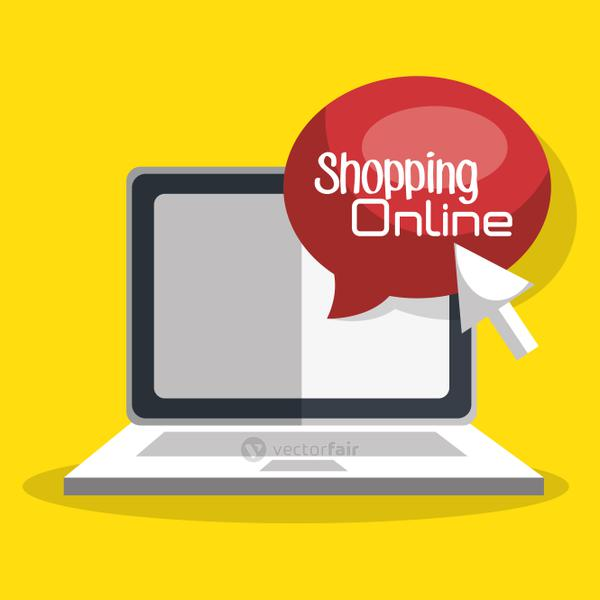 shopping online with laptop computer