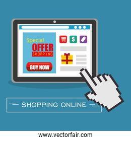 shopping online with tablet