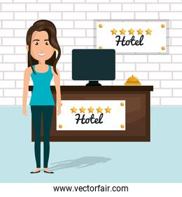 young woman in the hotel reception character scene