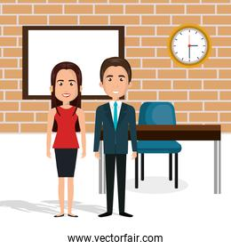 young couple in the classroom avatars characters