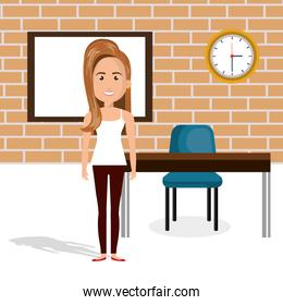 young woman in the classroom character scene