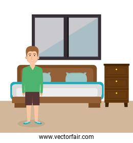 young man in the bed room character scene