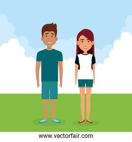 young couple in the landscape avatars characters