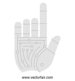 hand touching with circuit electric