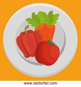 fresh carrot and pepper with tomato vegetables menu