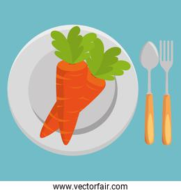 fresh carrot and cutlery vegetables menu