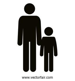 figure father with son silhouette avatars