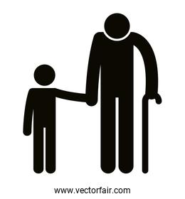grandfather with grandson silhouettes avatars