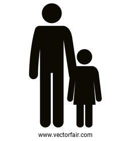 figure father with daughter silhouette avatars