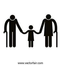 grandparents couple with granddaughter avatars silhouettes