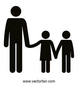 figure father with son and daughter avatars