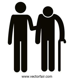 grandfather with son silhouettes avatars
