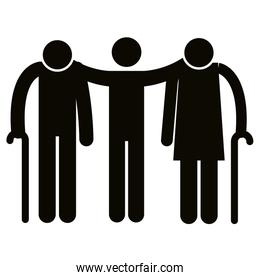 grandparents couple with son avatars silhouettes