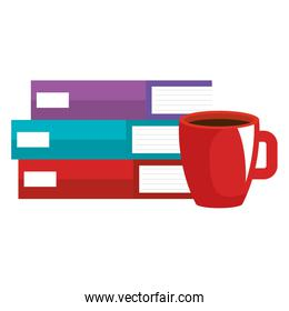 books school pile with coffee cup