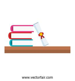 books school pile with diploma