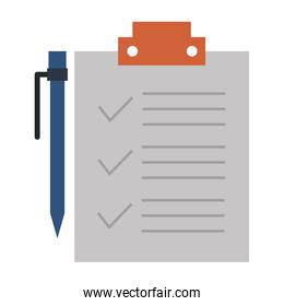 clipboard paper with pen icon isolated