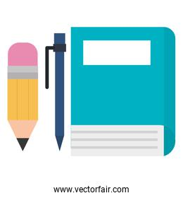 book school with pencil and pen