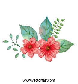 flower and leafs decorative icon