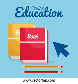 on line education with books