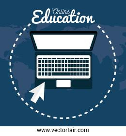 on line education with laptop