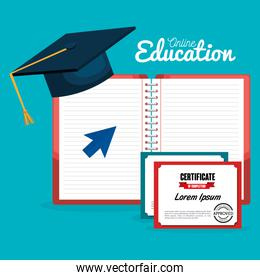 on line education with hat graduation