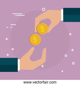 hands with coins money