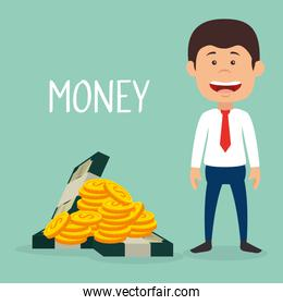 businessman with coins and bills dollars money