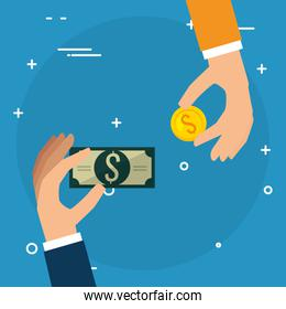 hands with coins and bills dollars money