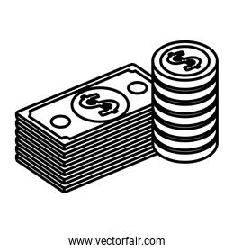 bills dollars and coins money isometric