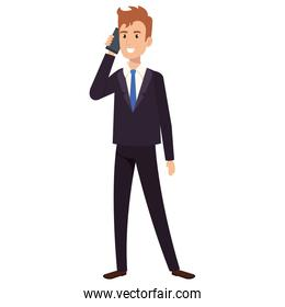 businessman calling with smartphone avatar character icon
