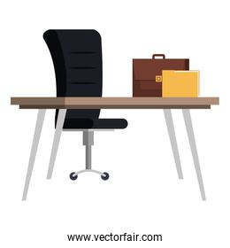 desk with chair and portfolio office scene