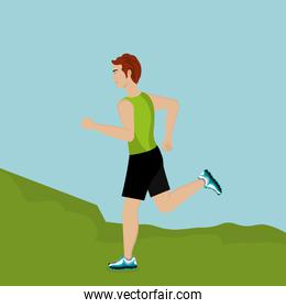 man running in the landscape