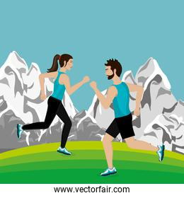 couple running in the landscape