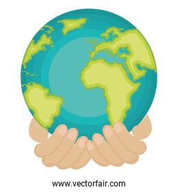 hands human with world planet earth icon