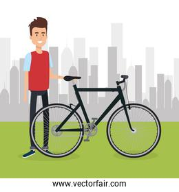 man with bicycle in the landscape