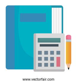 book school with calculator and pencil