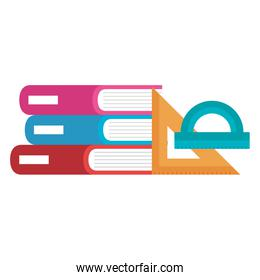 books school pile with protractor and rule