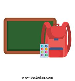 chalkboard with school bag and paint pallette