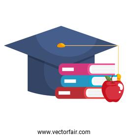 books school pile with graduation hat and apple