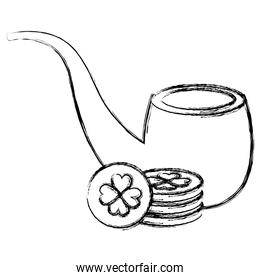 pile coins with clover and pipe wooden