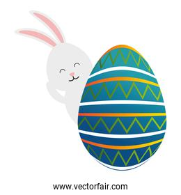 egg paint with cute bunny easter decoration