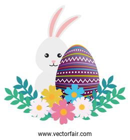 egg paint with cute bunny and flowers easter decoration