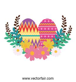 eggs paint easter with floral decoration